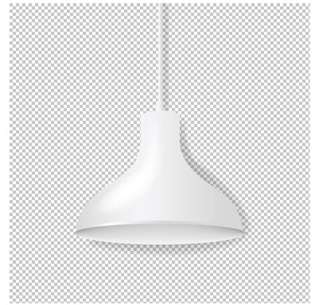 White Hanging Lamp Isolated Transparent Background With Gradient Mesh, Vector Illustration