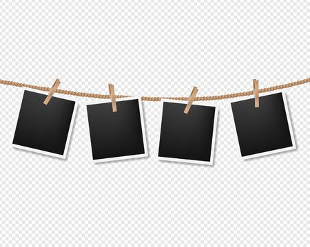 Photos On The Rope Transparent Background With Gradient Mesh, Vector Illustration