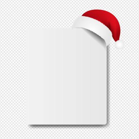 Banner With Santa Claus Cap transparent Background With Gradient Mesh, Vector Illustration Ilustração