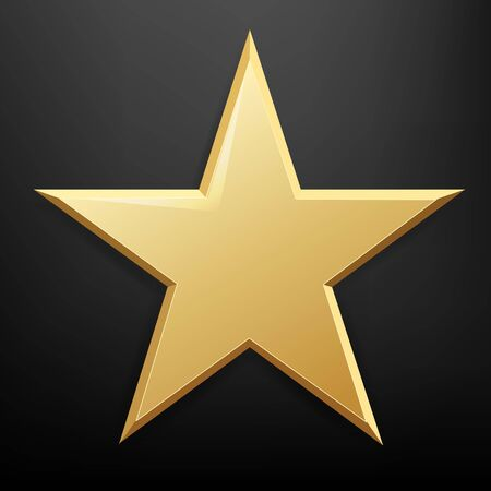 Golden Star And Isolated Black Background With Gradient Mesh, Vector Illustration
