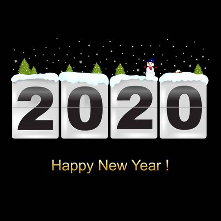 Happy New Year Card With Snowman With Gradient Mesh, Vector Illustration