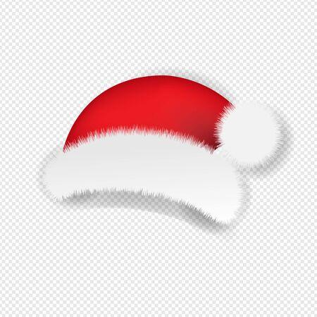 Christmas Santa Claus Cap Transparent background With Gradient Mesh, Vector Illustration