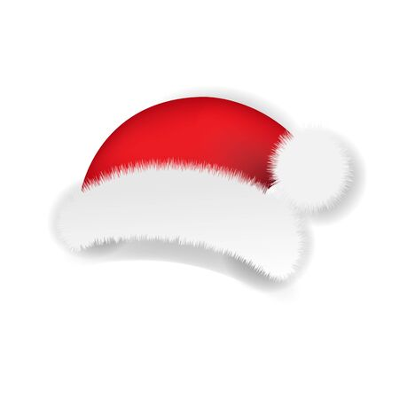 Christmas Santa Claus Cap White background With Gradient Mesh, Vector Illustration