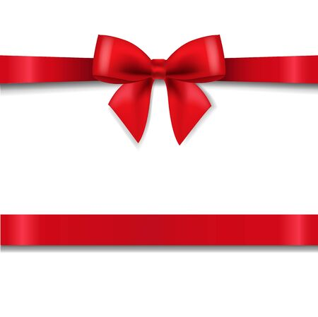 Red Bow Isolated White Background With Gradient Mesh, Vector Illustration Vektorové ilustrace