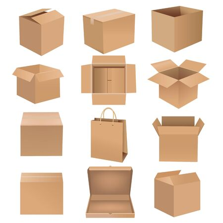 Shipping Box Big Set Isolated White background With Gradient Mesh, Vector Illustration