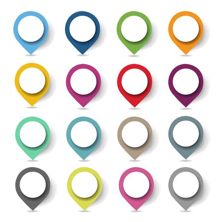 Colorful Location Pin Set Isolated With Gradient Mesh, Vector Illustration