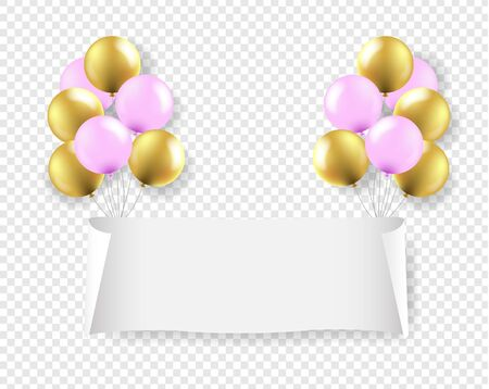 White Paper Banner With Pink And Golden Balloons Transparent Background With Gradient Mesh, Vector Illustration 向量圖像