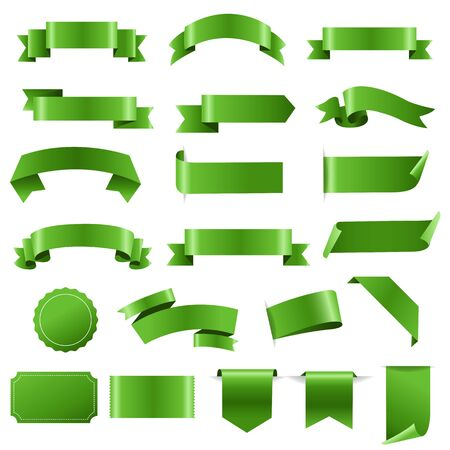 Green Labels And Ribbon Set White background, Vector Illustration