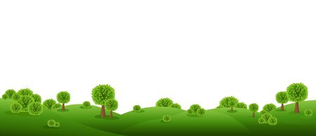 Green Landscape Isolated With White Background With Gradient Mesh, Vector Illustration 向量圖像