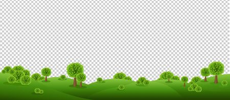 Green Landscape Isolated With Transparent Background With Gradient Mesh, Vector Illustration 向量圖像