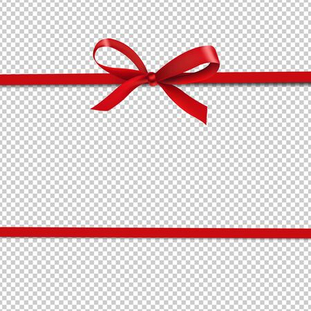 Red Ribbon Isolated Transparent Background With Gradient Mesh, Vector Illustration.