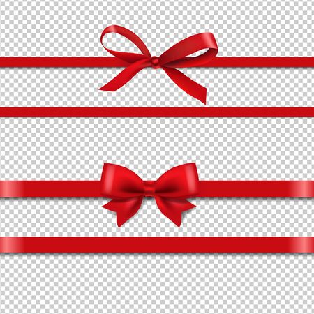 Red Silk Ribbons Set Isolated Transparent Background With Gradient Mesh, Vector Illustration