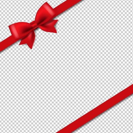 Silk Red Ribbon Isolated Transparent Background With Gradient Mesh, Vector Illustration