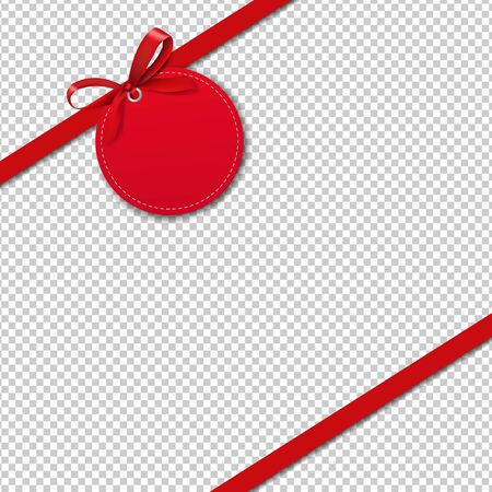 Sale Label With Rope And Red Bow White Background With Gradient Mesh, Vector Illustration