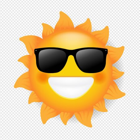 Sun With Sunglasses Isolated Transparent Background With Gradient Mesh, Vector Illustration