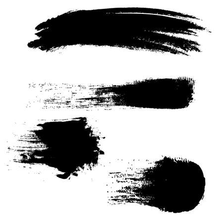 Black Blobs Set With Isolated White Background, Vector Illustration 向量圖像