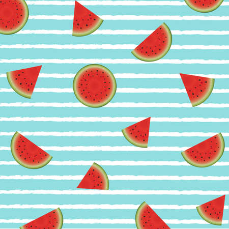 Watermelon Poster With Paint Background With Gradient Mesh, Vector Illustration