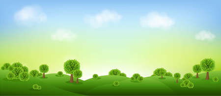 Green Landscape Isolated With Clouds And Sky With Gradient Mesh, Vector Illustration 版權商用圖片