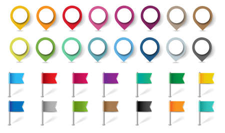 Location Pins Set Isolated White Background Gradient Mesh, Vector Illustration