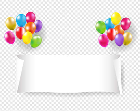 White Paper Banner With Pink And Golden Balloons Transparent Background With Gradient Mesh, Vector Illustration 版權商用圖片