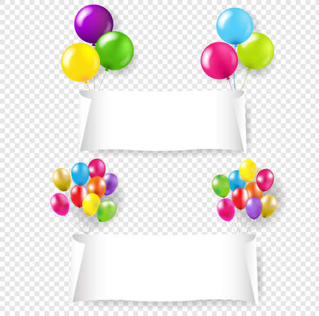 White Paper Banner With Color Balloons Transparent Background With Gradient Mesh, Vector Illustration 版權商用圖片