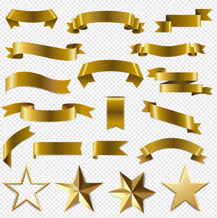 Golden Ribbons And Stars Set Transparent Background With Gradient Mesh, Vector Illustration