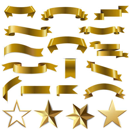 Golden Ribbons And Stars Set White Background With Gradient Mesh, Vector Illustration