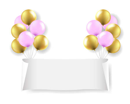 White Paper Banner With White Balloons Transparent Background With Gradient Mesh, Vector Illustration