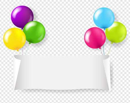 White Paper Banner With Colorful Balloons With Gradient Mesh, Vector Illustration 版權商用圖片