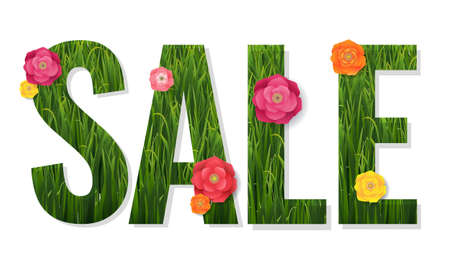 Sale Poster And Grass And Flowers With Gradient Mesh, Vector Illustration