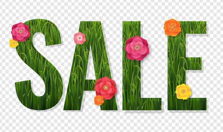 Sale Poster And Grass And Flowers Transparent Background With Gradient Mesh, Vector Illustration 版權商用圖片