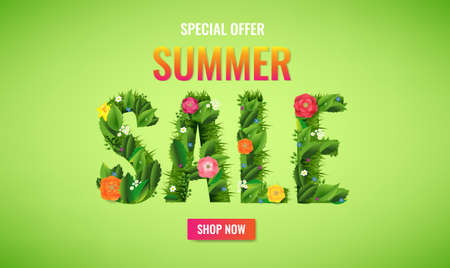 Summer Sale Poster With Text And Flowers With Gradient Mesh, Vector Illustration
