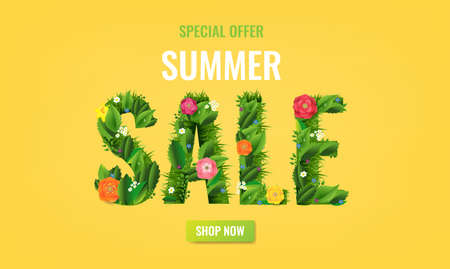 Summer Sale Poster And Grass With Gradient Mesh, Vector Illustration