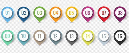 Colorful Location Pin Set Isolated Transparent Background With Gradient Mesh, Vector Illustration 版權商用圖片