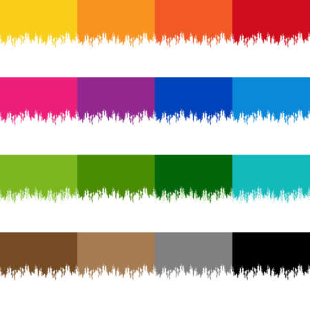 Colorful Paint Border Set With Isolated White Background Illustration