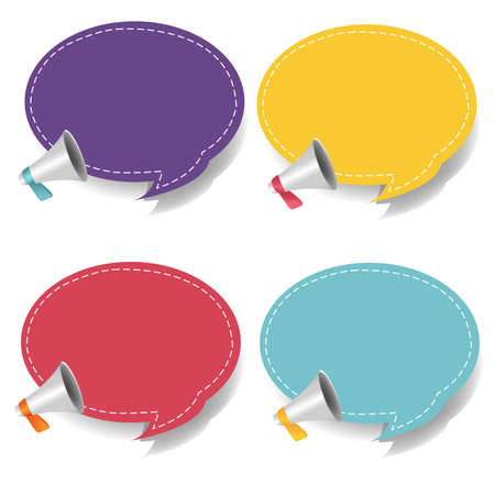 Megaphone With Speech Bubble Isolated White Background Set With Gradient Mesh Illustration 向量圖像
