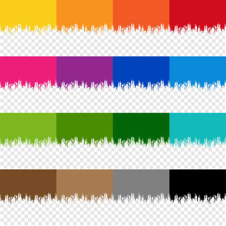 Colorful Paint Border Set With Isolated Transparent Background Illustration 向量圖像