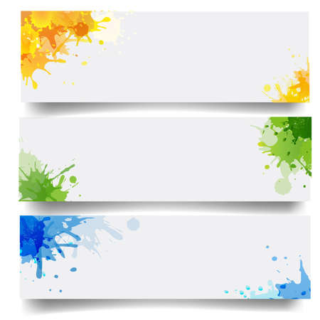 Banners Set With Blobs Isolated White Background With Gradient Mesh Illustration