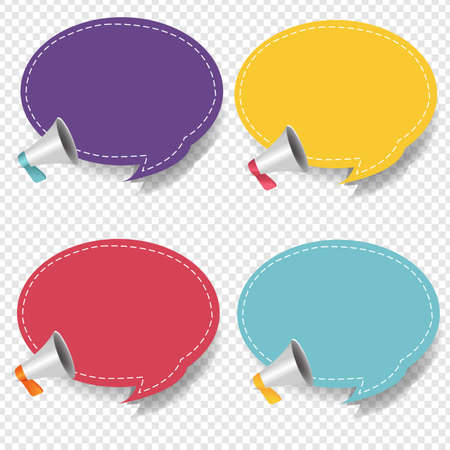 Megaphone With Speech Bubble Isolated Transparent Background Set With Gradient Mesh Illustration