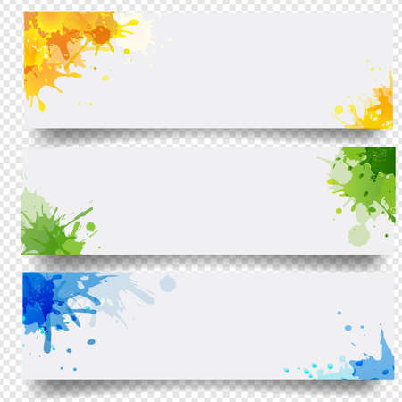 Banners Set With Blobs Isolated White Background With Gradient Mesh, Illustration 向量圖像
