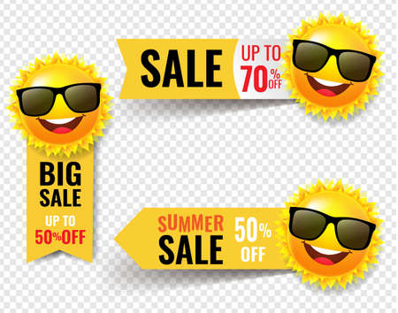 Summer Sale Banner With Sun Transparent Background With Gradient Mesh,  Illustration