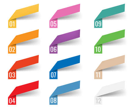 Infographics Template Web Ribbons Transparent Background With Gradient Mesh, Illustration