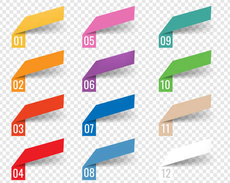 Infographics Template Web Ribbons White Background With Gradient Mesh, Illustration