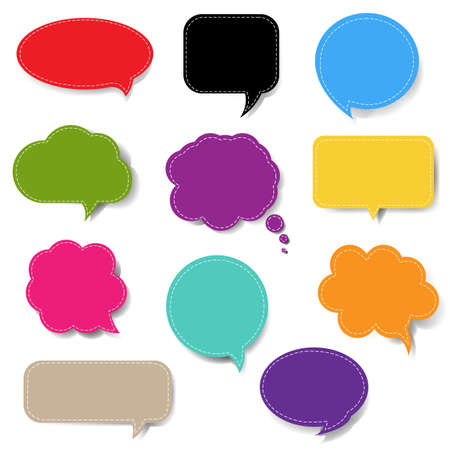 Colorful Speech Bubble Set Isolated White Background With Gradient Mesh