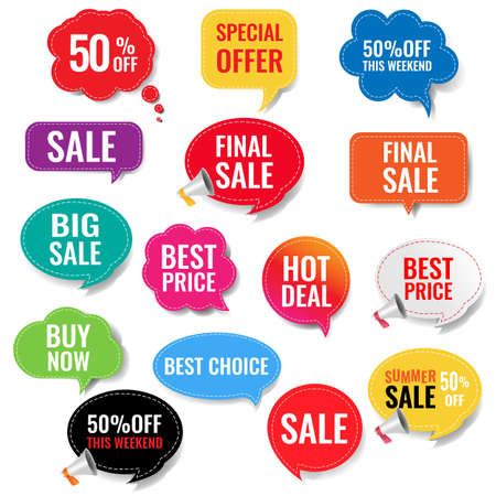 Sale Labels With Isolated Transparent Background With Gradient Mesh, Vector Illustration