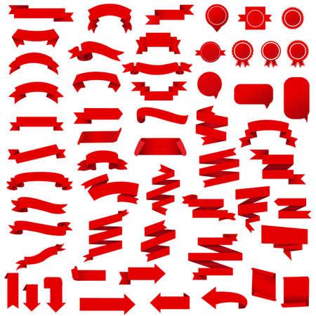 Red Ribbon Set Isolated White Background, Vector Illustration