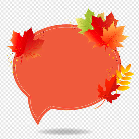 Autumn Poster Speech Bubble With Color Leaves Transparent Background With Gradient Mesh, Vector Illustration 向量圖像