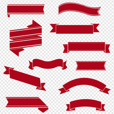 Retro Red Ribbon Set Isolated Transparent Background, Vector Illustration
