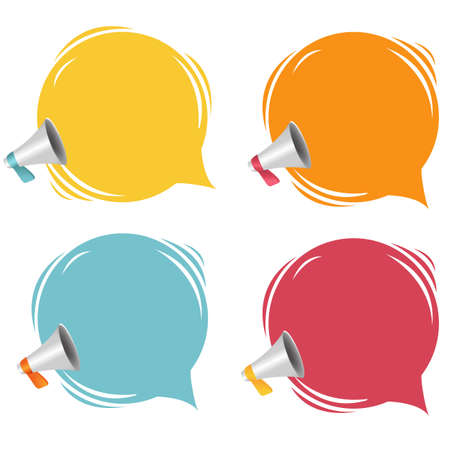 Megaphone With Speech Bubble Isolated White Background With Gradient Mesh, Vector Illustration