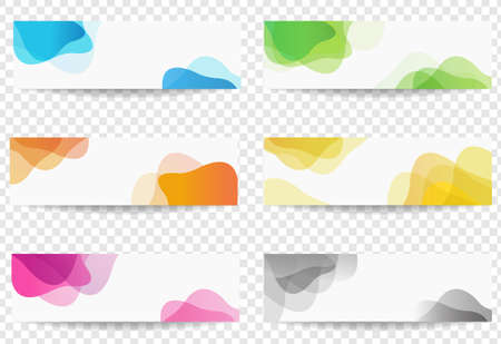 Banner Set With Colorful Blobs Transparent background With Gradient Mesh, Vector Illustration